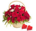 Gifts valley Red Roses Basket With 2 Heart Shape Candles on Valentine