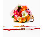 Giftacrossindia Double Rakhi Express With Gerberas Bouquet (GAIR2016122)