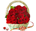 Giftacrossindia Red Roses Basket With Rakhi Express (GAIR2016177)