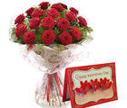 Gifts valley Bunch of 18 Red Roses With Valentine's Greeting Card