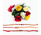 Giftacrossindia Mix Roses Bouquet With Set Of Three Rakhi Express (GAIR2016113)