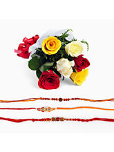 Giftacrossindia Mix Roses Bouquet With Set Of Thre...