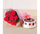 Giftacrossindia Lovely 10 Pink Carnations with Fresh Cream Strawberry Cake (GAIMPHD0513), 1000 gms