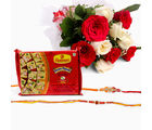 Giftacrossindia Bouquet Of 10 White And Red Roses With Soan Papdi And Set Of 2 Rakhi Express (GAIR2016024)