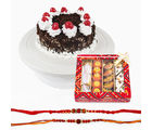 Giftacrossindia Assorted Sweets With Set Of Two Rakhi Express And Black Forest Cake (GAIR2016081)