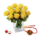 Giftacrossindia Yellow Roses Arrangement With Rakhi Express (GAIR2016168)