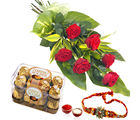 Giftacrossindia Rakhi Express And 6 Red Roses With Rocher Chocolate Box (GAIR2016236)