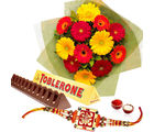 Giftacrossindia Rakhi Express Gift Of Toblerone Chocolate And Bunch Of Gerberas (GAIR2016226)