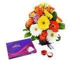 Giftacrossindia Mix Flowers Bouquet with Celebration Chocolate Pack for Bhai Dooj (GAIBD2016004)