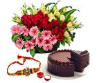 Giftacrossindia Basket Of Flowers And Cake With Rakhi Express (GAIR2016204)