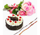 Giftacrossindia Set Of Two Rakhi Express With Black Forest Cake And 6 Pink Roses (GAIR2016036)