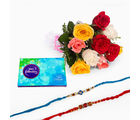 Giftacrossindia Bouquet Of 10 Mix Roses With Celebration Pack And Two Rakhi Express (GAIR2016019)