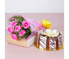 Giftacrossindia Six Pink Roses Hand Tied Bouquet with Half Kg Round Chocolate Cake (GAIMPHD0589), 1000 gms