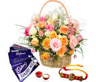Giftacrossindia Basket Of Roses And Rakhi Express With Cadbury Dairy Milk Chocolates (GAIR2016230)