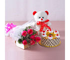 Giftacrossindia Bouquet of 6 Pink Roses with 1 kg Butterscotch Cake and Cuddly Bear (GAIMPHD0490), 1000 gms