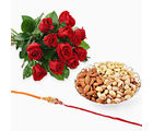 Giftacrossindia Bouquet Roses With Rakhi Express And Dry Fruits (GAIR2016032)
