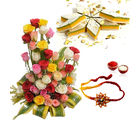 Giftacrossindia Rakhi Express With Roses Arrangement And Tirangi Kaju Katli (GAIR2016264)