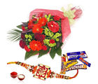Giftacrossindia Mix Cadbury Chocolates With Flowers And Rakhi Express (GAIR2016232)