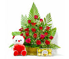 Giftacrossindia Basket of 20 Red Roses with Ferrero Rocher Chocolates and Teddy Bear (GAIMPHD0487), 1000 gms