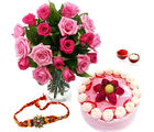 Giftacrossindia Strawberry Cake With Roses And Rakhi Express (GAIR2016197)