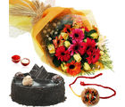 Giftacrossindia Roses And Gerberas Bouquet With Chocolate Cake And Rakhi Express (GAIR2016198)