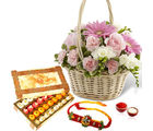 Giftacrossindia Beautiful Flowers Basket With Mix Sweet Box And Rakhi Express (GAIR2016251)