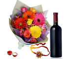 Giftacrossindia Wine With Mix Flowers And Rakhi Express (GAIR2016295)