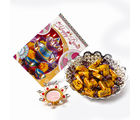 Giftacrossindia Caramel Toffes with Diya and Greeting Card