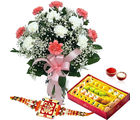 Giftacrossindia 1 Kg Mix Sweets And Rakhi Express With Flower Vase (GAIR2016249)