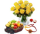 Giftacrossindia Yellow Roses Arrangement With Mix Fruits And Rakhi Express (GAIR2016293)
