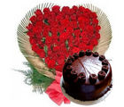 Gifts valley 50 Roses Heart n Cake