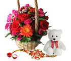 Giftacrossindia Exotic Flower Basket With Rakhi Express And Teddy Bear (GAIR2016267)