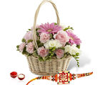 Giftacrossindia Flowers Basket Arrangement With Rakhi Express (GAIR2016176)