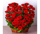 Giftacrossindia Fifty Red Roses Heart Shape Basket Arrangements (GAIMPHD0089), 1000 gms