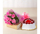 Giftacrossindia Love Ten Special Pink Roses Bunch with Heart Shape Strawberry Cake (GAIMPHD0318), 1000 gms