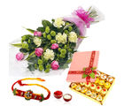 GiftsAcrossIndia Flower Bouquet With Mix Sweet And Rakhi Express (GAIR2016252)