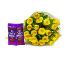 Giftacrossindia Bunch of Twenty Yellow Roses with Cadbury Fruit and Nut Chocolate Bars (GAIMPHD0149), 1000 gms