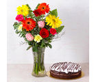 Giftacrossindia Chocolate Cake with Fifteen Assorted Flowers Vase (GAIMPHD0586), 1000 gms