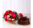 Giftacrossindia Gorgeous Roses With Carnations and Chocolate Cake (GAIMPHD0331), 1000 gms