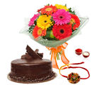 Giftacrossindia Delicious Chocolate Cake With Rakhi Express And Gerberas Bouquet (GAIR2016194)