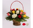Giftacrossindia Bhai Dooj for Mix Roses in a Basket Arrangement (GAIBD2016124)