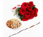 Giftacrossindia Rakhi Express With Red Roses And Mix Dryfruits (GAIR2016029)