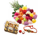 Giftacrossindia Rakhi Express And Ferrero Rocher Chocolates With Roses (GAIR2016225)