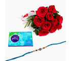 Giftacrossindia Rakhi Express With Red Roses And Cadbury Cadbury Celebration Chocolate Pack (GAIR2016060)