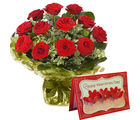 Gifts valley Bunch of 12 Red Roses With Valentine's Greeting Card