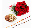 Giftacrossindia Set Of Two Rakhi Express With Bunch Of Rose And Dryfruits (GAIR2016030)