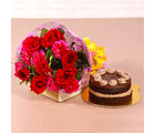 Giftacrossindia Roses and Carnations Bouquet with Chocolate Cake (GAIMPHD0198), 1000 gms
