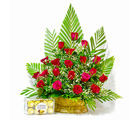 Giftacrossindia Basket Arrangement of Red Roses with Ferrero Rocher Chocolate Box (GAIMPHD0187), 1000 gms