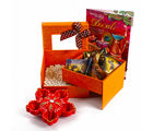 Giftacrossindia Double Decker Box of Mukhwas Dates Chocolate with Earthen Diya and Greeting Card