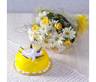 Giftacrossindia White Gerberas with Yellow Roses and Pineapple Cake (GAIMPHD0562), 1000 gms